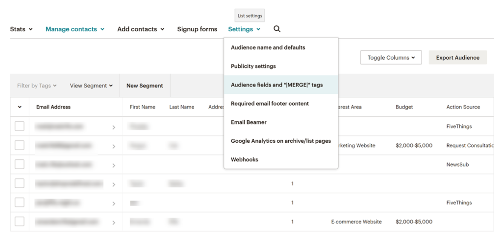 How to access Audience Fields